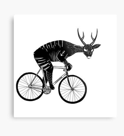 Deer & Bicycle Metal Print