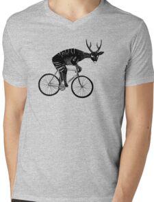 Deer & Bicycle Mens V-Neck T-Shirt