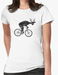 Deer & Bicycle Womens Fitted T-Shirt