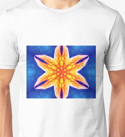 Blue Yellow Psychedelic Flower Unisex T-Shirt