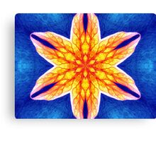 Blue Yellow Psychedelic Flower Canvas Print