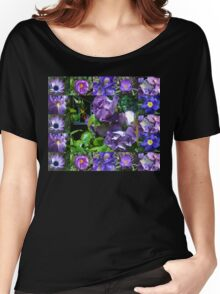 Floral Collage with Blue and Purple Flowers Women's Relaxed Fit T-Shirt