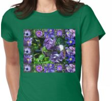 Floral Collage with Blue and Purple Flowers Womens Fitted T-Shirt