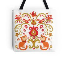 Rissian Kitties and Birds Love Tree. Tote Bag