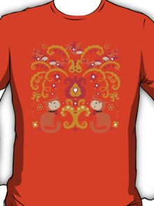 Rissian Kitties and Birds Love Tree. T-Shirt