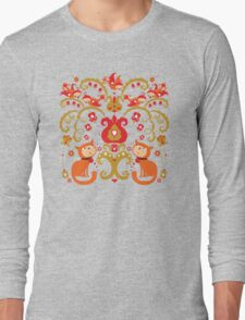 Rissian Kitties and Birds Love Tree. Long Sleeve T-Shirt