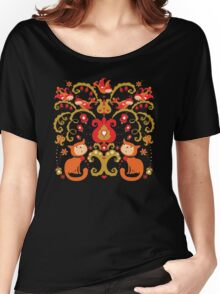 Rissian Kitties and Birds Love Tree. Women's Relaxed Fit T-Shirt