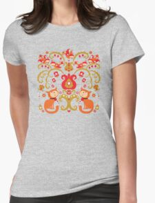Rissian Kitties and Birds Love Tree. Womens Fitted T-Shirt