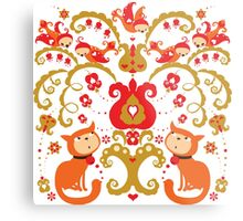 Rissian Kitties and Birds Love Tree. Metal Print