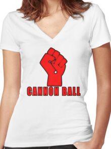 Cannon Ball North Dakota Power Women's Fitted V-Neck T-Shirt