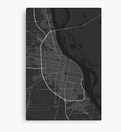 Rosario, Argentina Map. (White on black) Canvas Print
