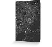 Belo Horizonte, Brazil Map. (White on black) Greeting Card