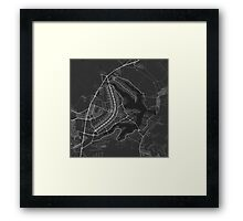 Brasilia, Brazil Map. (White on black) Framed Print