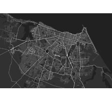 Fortaleza, Brazil Map. (White on black) Photographic Print
