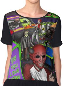 Post-Apocalyptic Arcade - The Monster Squad - Splatterhouse - Critters - The Gate - Friday the 13th - Return of the Living Dead Chiffon Top