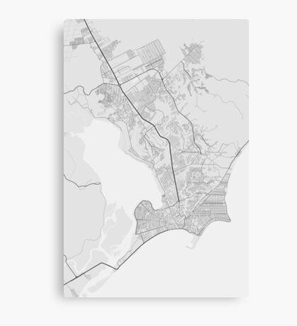 Maceio, Brazil Map. (Black on white) Canvas Print