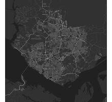 Manaus, Brazil Map. (White on black) Photographic Print