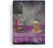Still Life: burger, Beer, Fries Canvas Print