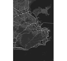 Rio de Janeiro, Brazil Map. (White on black) Photographic Print