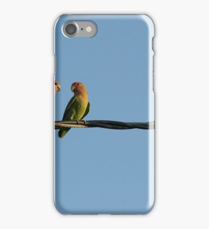 Lovebirds on a wire iPhone Case/Skin