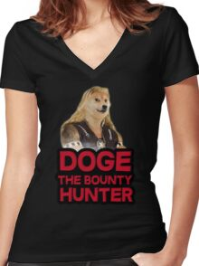 Doge (dog) the bounty hunter Women's Fitted V-Neck T-Shirt