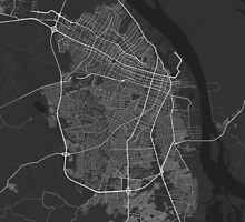 Barranquilla, Colombia Map. (White on black) by Graphical-Maps