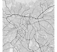 Sao Paulo, Brazil Map. (Black on white) Photographic Print