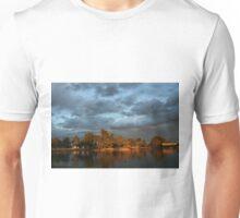 Sunset lit trees against stormclouds Unisex T-Shirt