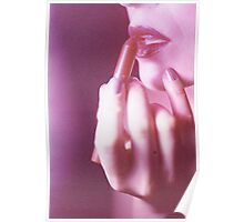Surreal analog film photo of lady putting on lipstick makeup Poster
