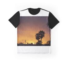 Evening orange sky and palm trees Graphic T-Shirt