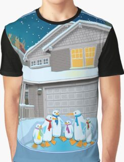 Holiday Snow Penguins Graphic T-Shirt