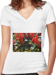 Red flowers texture Women's Fitted V-Neck T-Shirt