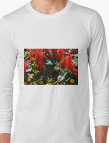 Red flowers texture Long Sleeve T-Shirt