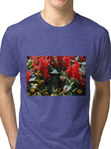 Red flowers texture Tri-blend T-Shirt