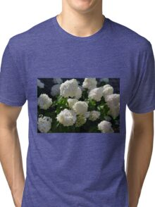 Natural background with bunch of white flowers Tri-blend T-Shirt