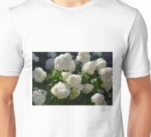Natural background with bunch of white flowers Unisex T-Shirt