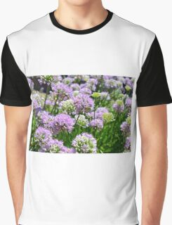 Many pink purple round flowers in the garden Graphic T-Shirt