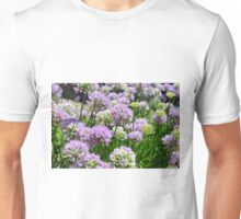 Many pink purple round flowers in the garden Unisex T-Shirt