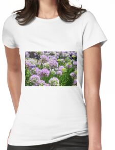 Many pink purple round flowers in the garden Womens Fitted T-Shirt