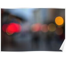 defocused light city street in evening Poster