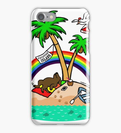 Vacation Island Chocolate Labrador iPhone Case/Skin