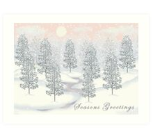 Snowy Day Winter Scene - Seasons Greetings Christmas Card Art Print