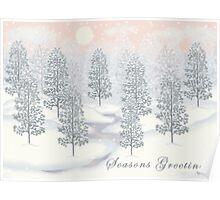 Snowy Day Winter Scene - Seasons Greetings Christmas Card Poster