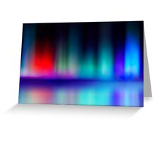 abstract blur and reflection of red and blue radiance of flame Greeting Card