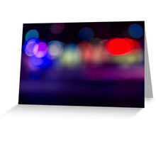 abstract blur of red, blue and purple lighting night club disco dance floor Greeting Card