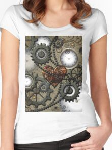 Steampunk, clocks and gears  Women's Fitted Scoop T-Shirt