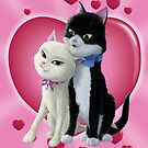 Romantic Cartoon cats on Valentine Heart  by martyee