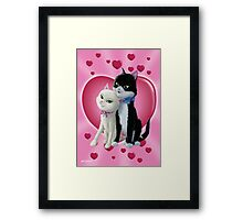 Romantic Cartoon cats on Valentine Heart  Framed Print