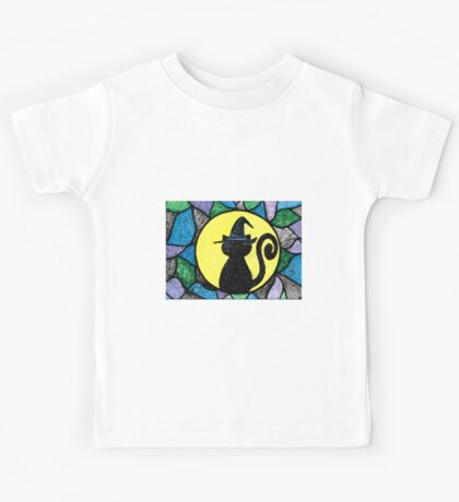 Witch Cat Stained Glass Kids Tee