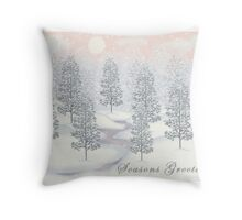 Snowy Day Winter Scene - Seasons Greetings Christmas Card Throw Pillow